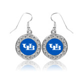 Crystal Studded Round Pendant Silver Dangle Earrings-Interlocking UB