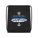 Black Drawstring Backpack-2018 Mens Basketball Champions - Brush