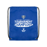 Royal Drawstring Backpack-2018 Mens Basketball Champions - Brush