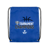 Royal Drawstring Backpack-2018 Mens Basketball Champions - Stacked