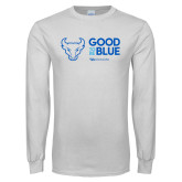 White Long Sleeve T Shirt-Good To Be Blue