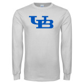 White Long Sleeve T Shirt-Interlocking UB