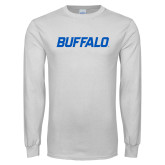 White Long Sleeve T Shirt-Buffalo Word Mark