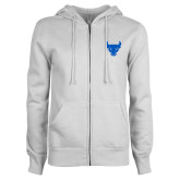 ENZA Ladies White Fleece Full Zip Hoodie-Bull Spirit Mark