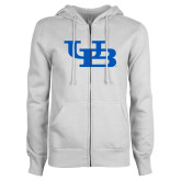 ENZA Ladies White Fleece Full Zip Hoodie-Interlocking UB