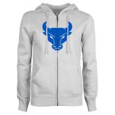 ENZA Ladies White Fleece Full Zip Hoodie-Bull Spirit Mark