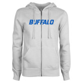 ENZA Ladies White Fleece Full Zip Hoodie-Buffalo Word Mark