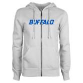 ENZA Ladies White Fleece Full Zip Hoodie-Buffalo Word Mark
