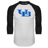 White/Black Raglan Baseball T-Shirt-Interlocking UB