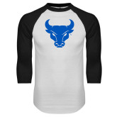 White/Black Raglan Baseball T-Shirt-Bull Spirit Mark