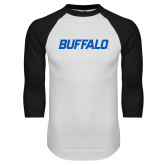 White/Black Raglan Baseball T-Shirt-Buffalo Word Mark