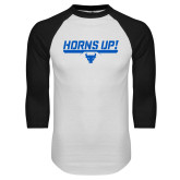 White/Black Raglan Baseball T-Shirt-Horns Up