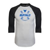 White/Black Raglan Baseball T-Shirt-Buffalo Baseball w/ Seams