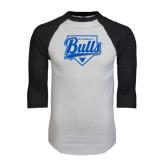 White/Black Raglan Baseball T-Shirt-Bulls Baseball Script w/ Plate
