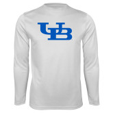 Performance White Longsleeve Shirt-Interlocking UB