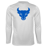 Performance White Longsleeve Shirt-Bull Spirit Mark