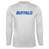 Performance White Longsleeve Shirt-Buffalo Word Mark