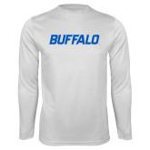 Syntrel Performance White Longsleeve Shirt-Buffalo Word Mark