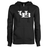 ENZA Ladies Black Fleece Full Zip Hoodie-Interlocking UB