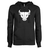 ENZA Ladies Black Fleece Full Zip Hoodie-Bull Spirit Mark