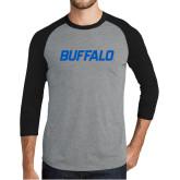 Grey/Black Tri Blend Baseball Raglan-Buffalo Word Mark