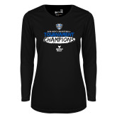 Ladies Syntrel Performance Black Longsleeve Shirt-2018 Mens Basketball Champions - Brush
