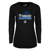Ladies Syntrel Performance Black Longsleeve Shirt-2018 Mens Basketball Champions - Stacked