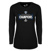 Ladies Syntrel Performance Black Longsleeve Shirt-2018 Mens Basketball Champions - Box