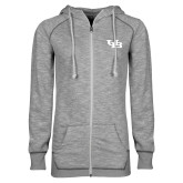 ENZA Ladies Grey/Black Marled Full Zip Hoodie-Interlocking UB