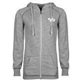 ENZA Ladies Grey/Black Marled Full Zip Hoodie-Interlocking UB