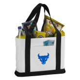 Contender White/Black Canvas Tote-Bull Spirit Mark