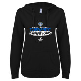 ENZA Ladies Black V Notch Raw Edge Fleece Hoodie-2018 Mens Basketball Champions - Brush