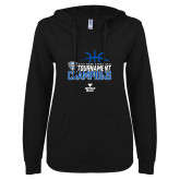 ENZA Ladies Black V Notch Raw Edge Fleece Hoodie-2018 Mens Basketball Champions - Stacked