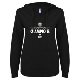 ENZA Ladies Black V Notch Raw Edge Fleece Hoodie-2018 Mens Basketball Champions - Box
