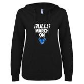 ENZA Ladies Black V Notch Raw Edge Fleece Hoodie-Bulls March On