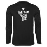 Performance Black Longsleeve Shirt-Bufallo Basketball w/ Hanging Net