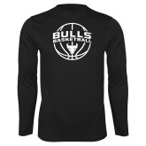 Performance Black Longsleeve Shirt-Bulls Basketball Arched w/ Ball