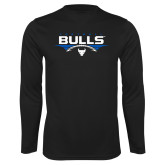 Performance Black Longsleeve Shirt-Bulls Football Horizontal w/ Ball