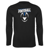 Performance Black Longsleeve Shirt-Bulls Football Vertical w/ Ball