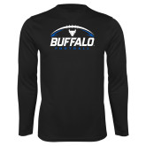 Performance Black Longsleeve Shirt-Buffalo Football Under Ball