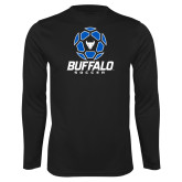 Performance Black Longsleeve Shirt-Buffalo Soccer Geometric Ball
