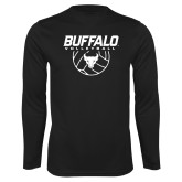 Performance Black Longsleeve Shirt-Buffalo Volleyball Stacked w/ Ball
