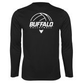 Performance Black Longsleeve Shirt-Buffalo Volleyball Stacked Under Ball
