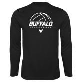 Performance Black Longsleeve Shirt-Buffalo Volleyball Stacked Under Ball