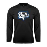 Syntrel Performance Black Longsleeve Shirt-Bulls Baseball Script w/ Plate