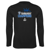 Performance Black Longsleeve Shirt-2018 Mens Basketball Champions - Stacked
