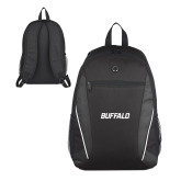 Atlas Black Computer Backpack-Buffalo Word Mark