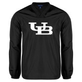 V Neck Black Raglan Windshirt-Interlocking UB