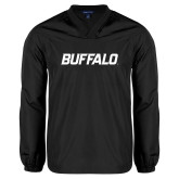 V Neck Black Raglan Windshirt-Buffalo Word Mark