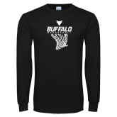 Black Long Sleeve TShirt-Bufallo Basketball w/ Hanging Net